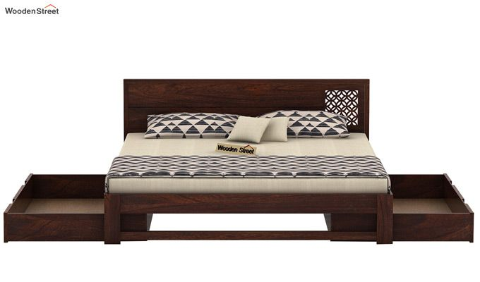 Cambrey Designed Bed With Storage (Queen Size, Walnut Finish)-6