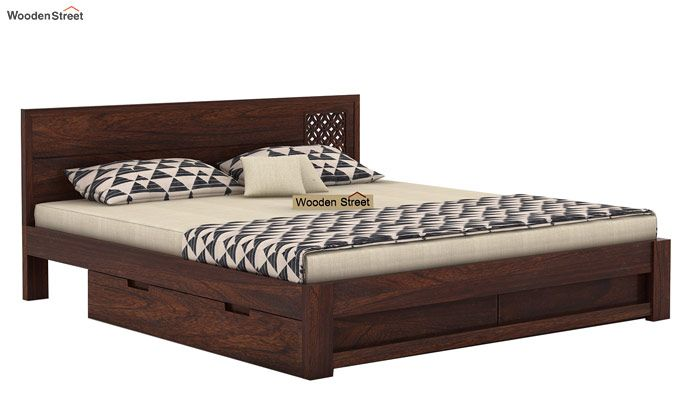 Cambrey Designed Bed With Storage (Queen Size, Walnut Finish)-4
