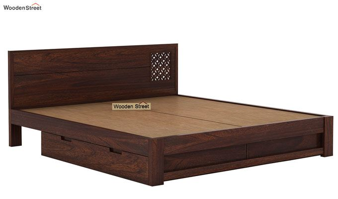 Cambrey Designed Bed With Storage (Queen Size, Walnut Finish)-7