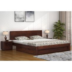 Cambrey Designed Bed With Storage (King Size, Walnut Finish)