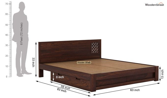 Cambrey Designed Bed With Storage (Queen Size, Walnut Finish)-8