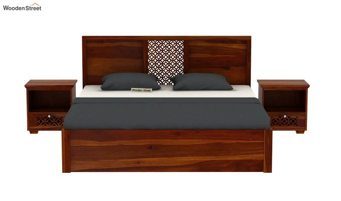 Cambrey Hydraulic Bed (Queen Size, Honey Finish)-3