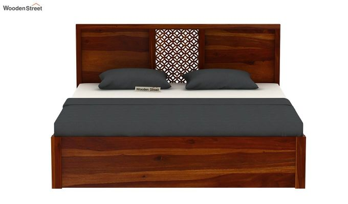 Cambrey Hydraulic Bed (Queen Size, Honey Finish)-5