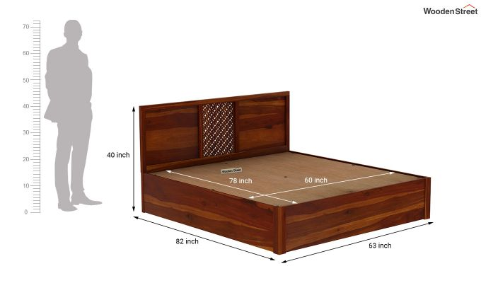 Cambrey Hydraulic Bed (Queen Size, Honey Finish)-9