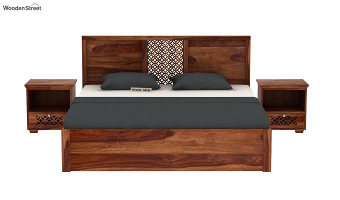 Cambrey Hydraulic Bed (King Size, Teak Finish)-3