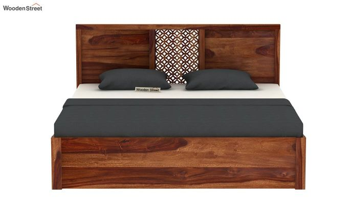 Cambrey Hydraulic Bed (Queen Size, Teak Finish)-5