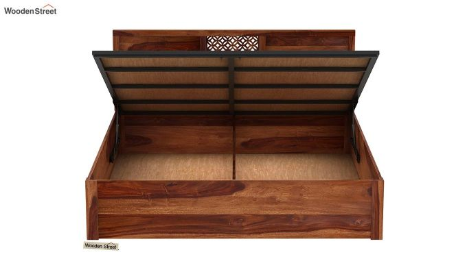 Cambrey Hydraulic Bed (Queen Size, Teak Finish)-7