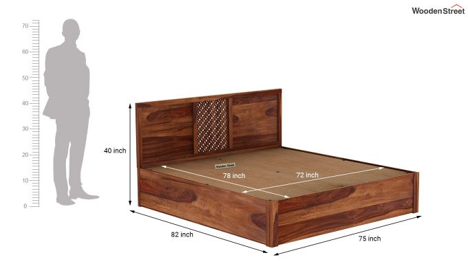 Cambrey Hydraulic Bed (King Size, Teak Finish)-9
