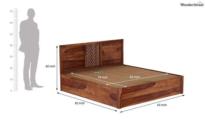 Cambrey Hydraulic Bed (Queen Size, Teak Finish)-9