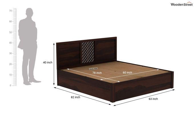 Cambrey Hydraulic Bed (Queen Size, Walnut Finish)-9