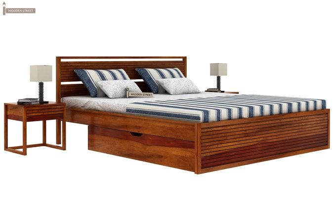 Costas Bed With Storage (King Size, Honey Finish)-1