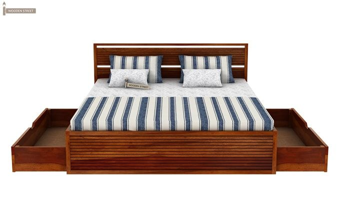 Costas Bed With Storage (King Size, Honey Finish)-7