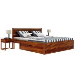 Costas Bed With Storage (King Size, Honey Finish)