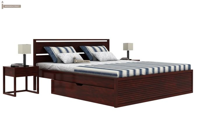 Costas Bed With Storage (King Size, Mahogany Finish)-1