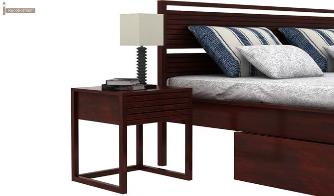 Costas Bed With Storage (King Size, Mahogany Finish)-3
