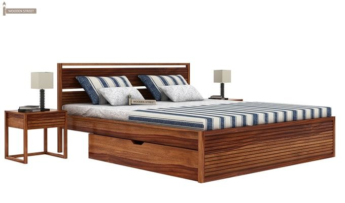 Costas Bed With Storage (Queen Size, Teak Finish)-1