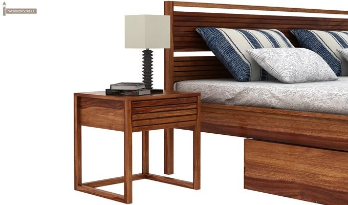Costas Bed With Storage (Queen Size, Teak Finish)-3