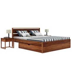 Costas Bed With Storage (King Size, Teak Finish)