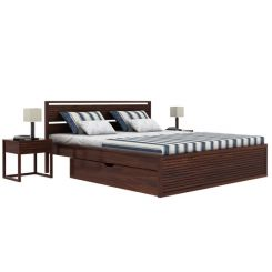 Costas Bed With Storage (King Size, Walnut Finish)