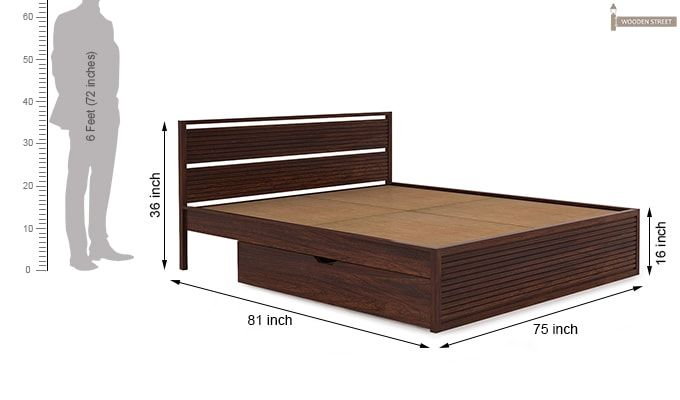 Costas Bed With Storage (King Size, Walnut Finish)-4
