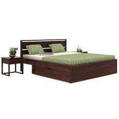 Costas Bed With Storage (Queen Size, Walnut Finish)