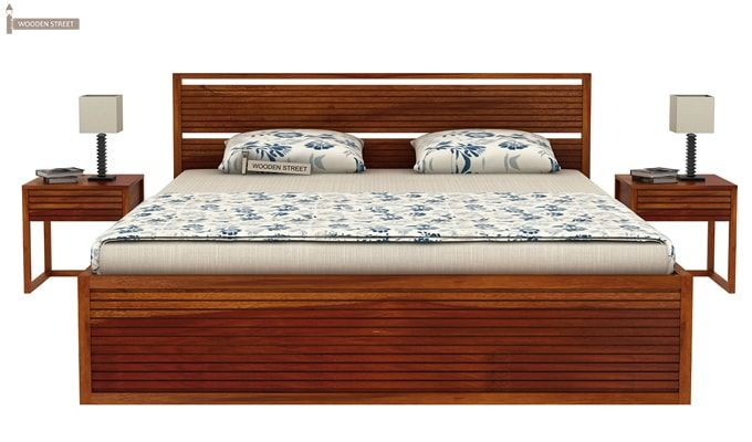 Costas Hydraulic Bed (Queen Size, Honey Finish)-3