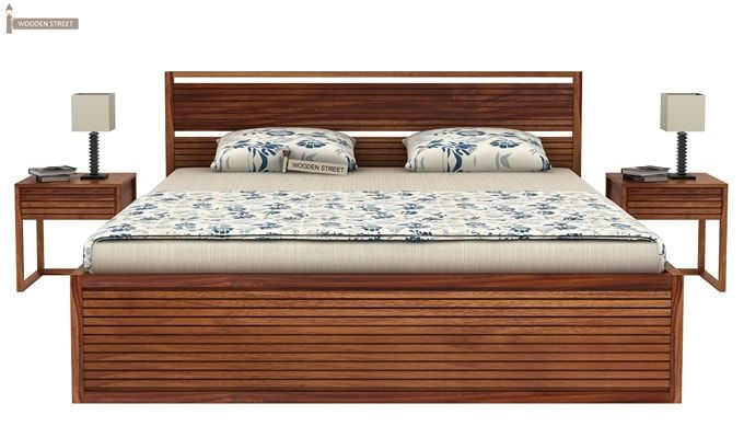 Costas Hydraulic Bed (King Size, Teak Finish)-2
