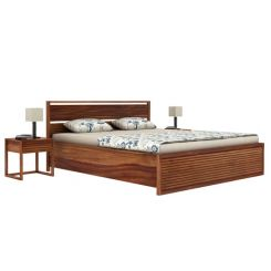 Costas Hydraulic Bed (King Size, Teak Finish)
