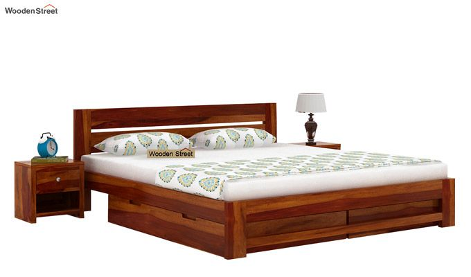 Denzel Bed With Storage (Queen Size, Honey Finish)-2