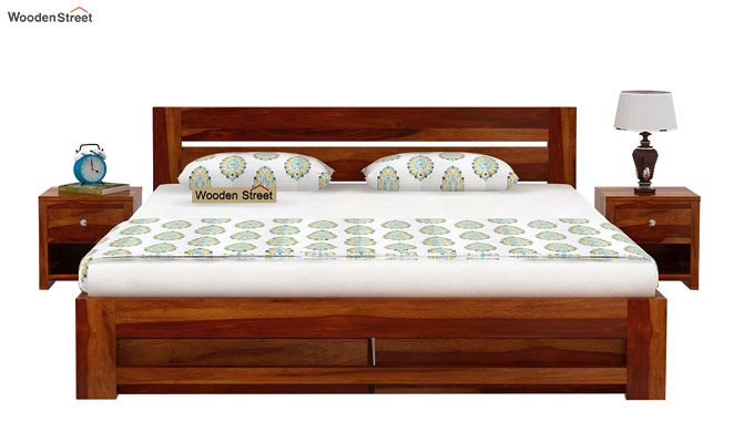 Denzel Bed With Storage (Queen Size, Honey Finish)-3