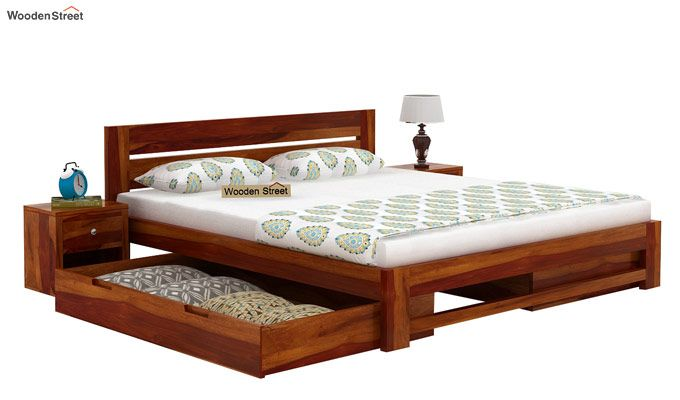 Denzel Bed With Storage (Queen Size, Honey Finish)-4