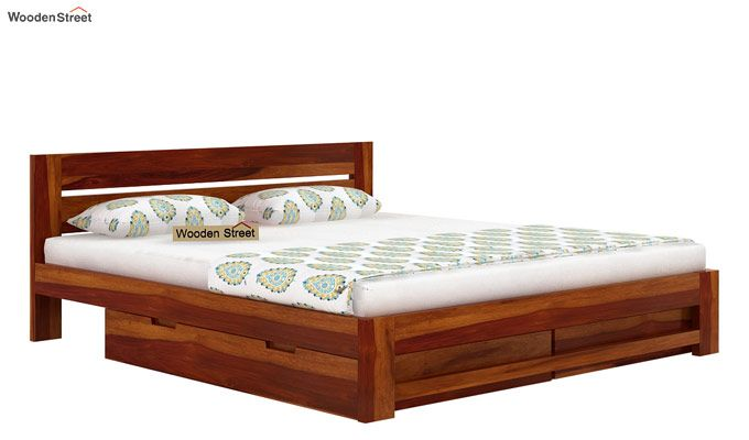 Denzel Bed With Storage (Queen Size, Honey Finish)-6