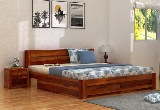 Buy double beds online upto 60 off in india wooden street for Double bed with box design