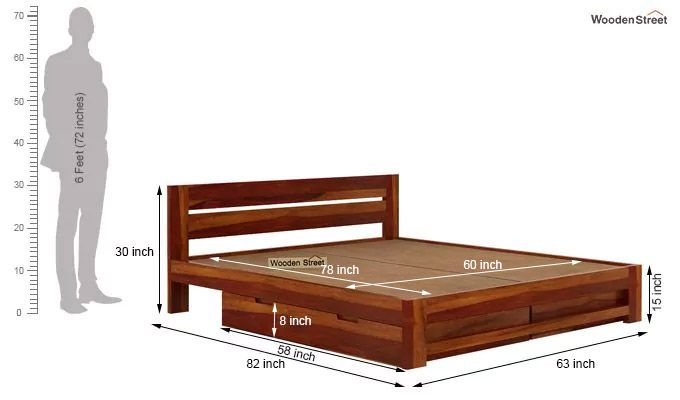 Denzel Bed With Storage (Queen Size, Honey Finish)-7