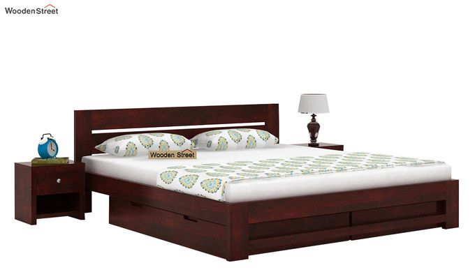 Denzel Bed With Storage (Queen Size, Mahogany Finish)-1