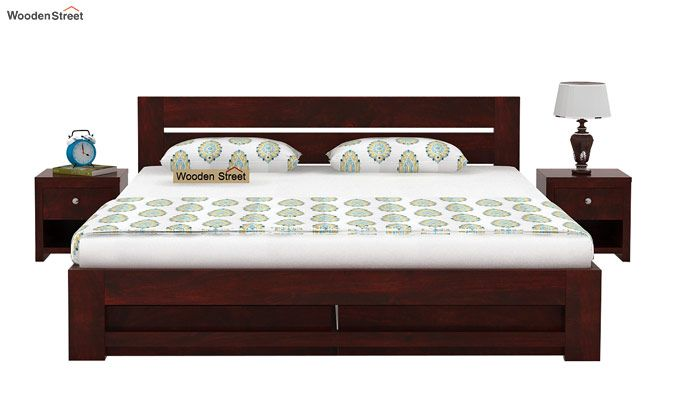 Denzel Bed With Storage (Queen Size, Mahogany Finish)-2