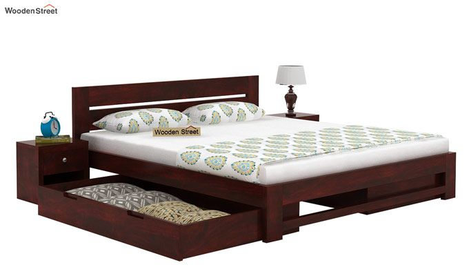 Denzel Bed With Storage (Queen Size, Mahogany Finish)-3