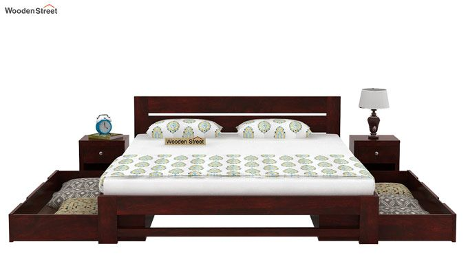Denzel Bed With Storage (Queen Size, Mahogany Finish)-5