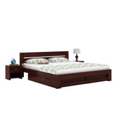 Denzel Bed With Storage (Queen Size, Mahogany Finish)