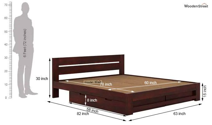 Denzel Bed With Storage (Queen Size, Mahogany Finish)-6
