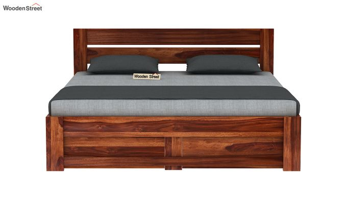 Denzel Bed With Storage (Queen Size, Honey Finish)-5