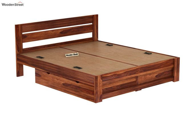 Denzel Bed With Storage (Queen Size, Honey Finish)-8