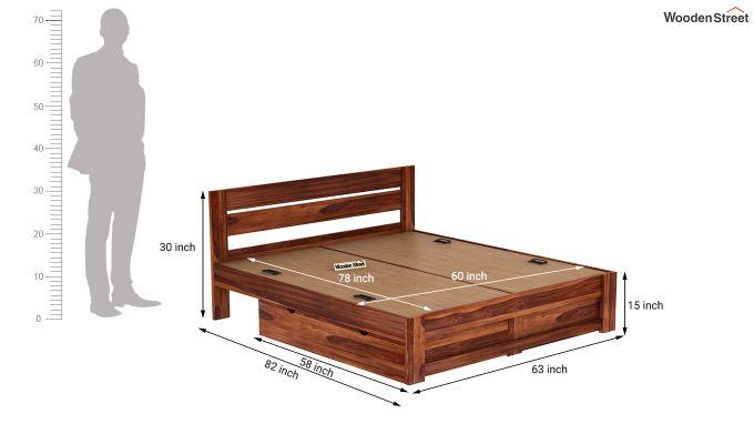 Denzel Bed With Storage (Queen Size, Honey Finish)-9