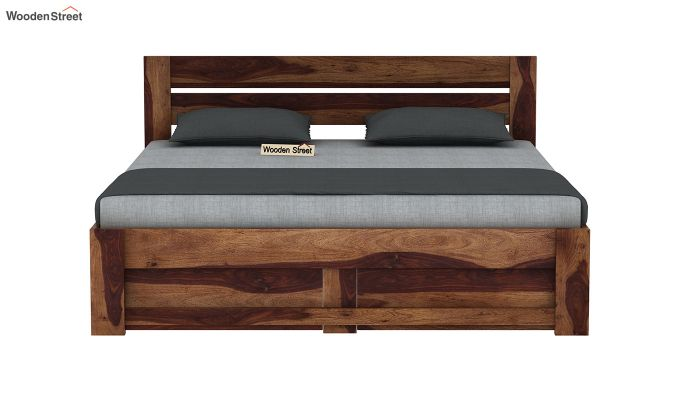 Denzel Bed With Storage (King Size, Teak Finish)-5