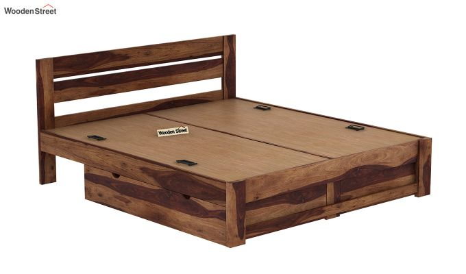Denzel Bed With Storage (King Size, Teak Finish)-8