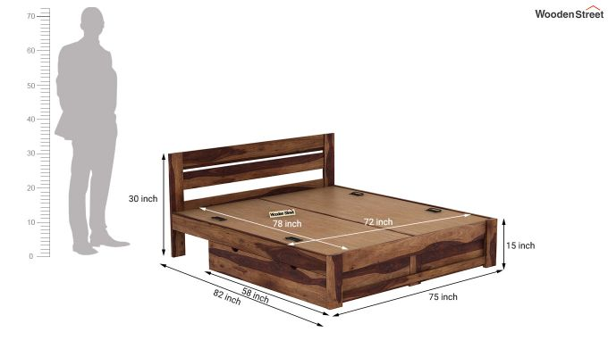 Denzel Bed With Storage (King Size, Teak Finish)-9