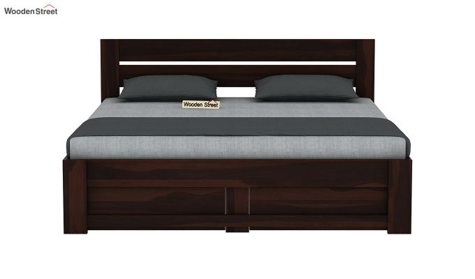 Denzel Bed With Storage (Queen Size, Walnut Finish)-5