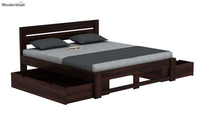 Denzel Bed With Storage (Queen Size, Walnut Finish)-6