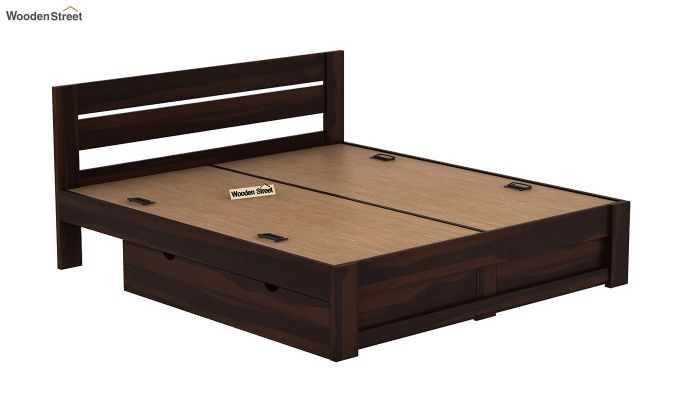 Denzel Bed With Storage (Queen Size, Walnut Finish)-8