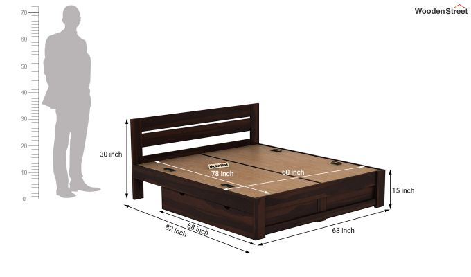 Denzel Bed With Storage (Queen Size, Walnut Finish)-9
